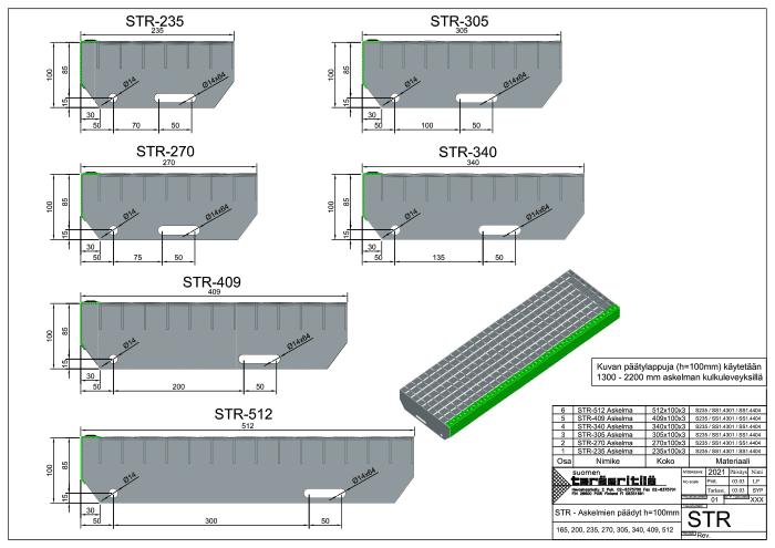 STR-Askelmien päädyt h=100mm