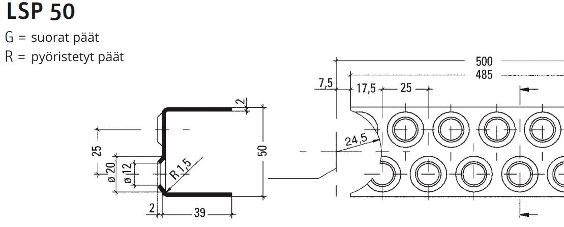 STR-Tikasprofiili LSP / Tikaspuolat LSP 50